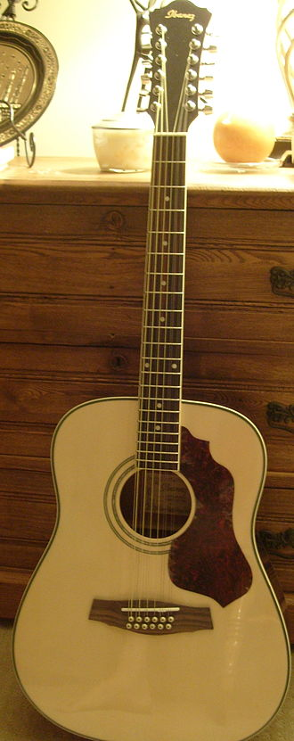 Course (music) - An acoustic 12-string guitar. The one shown here is an Ibanez instrument.