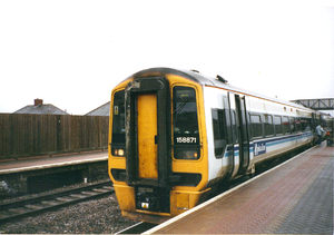 Pyle - A Wales & West Class 158 train at Pyle station in 2001