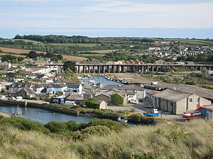 Hayle Viaduct from a hill by the estuary mouth