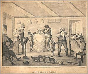 Henry Bunbury (caricaturist) - A Barber's Shop, copperplate engraving, April 21, 1803
