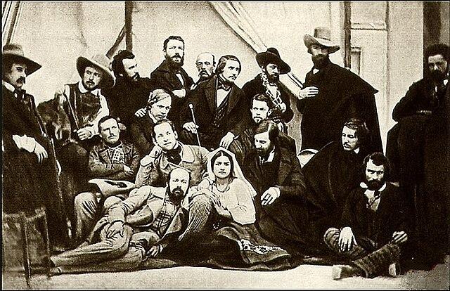 Групповой дагерротип русских художников. Автор Сергей Левицкий. Рим, 1845, ателье Perrot