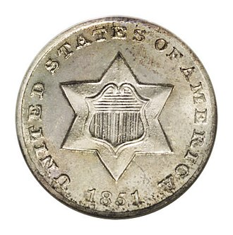 Three-cent silver - Image: 1851 O 3CS (obv)