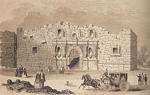 Alamo Mission in San Antonio - 1854 drawing – The Alamo chapel would have looked something like this in the 1830s.