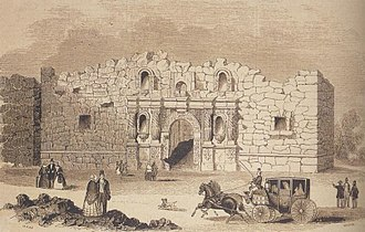 Battle of the Alamo - The Alamo, as drawn in 1854