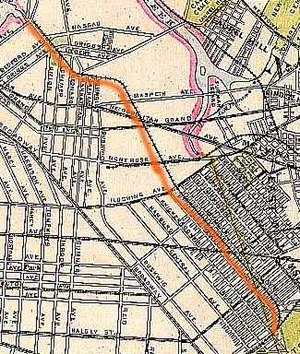 Evergreen Branch - A map from Beers Atlas, from the 1870s, showing the line's route.