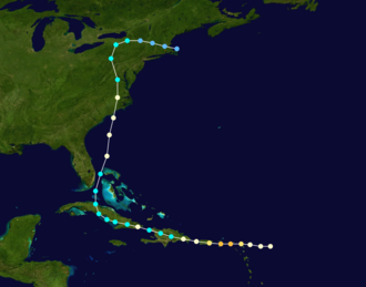 1876 Atlantic hurricane season - Image: 1876 Atlantic hurricane 2 track