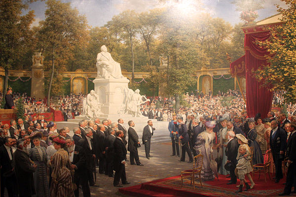 Unveiling of the Richard Wagner Monument in the Tiergarten, Berlin (1908); painting by Anton von Werner 1908 v. Werner Enthuellung Richard-Wagner-Denkmal Tiergarten anagoria.JPG