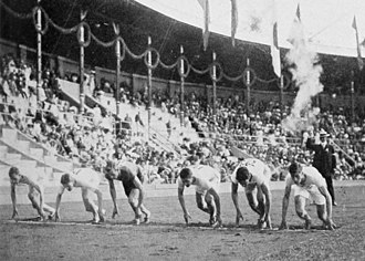Athletics at the 1912 Summer Olympics – Men's 400 metres - The start of one of the semifinals.