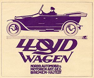1913 in Germany - 1913 Lloyd Wagen advertisement, Bremen