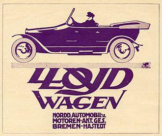 1913 in Germany - 1913 Lloyd Wagen advertisement, Bremen