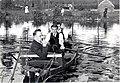 1933 septembre 3 Lac d'Overmeire Jean Callebaut Léon van Dievoet Lismonde en canot.jpg
