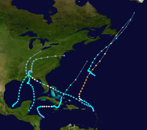 Tracking map of five tropical storms in the Atlantic Ocean, concentrated near the United States.