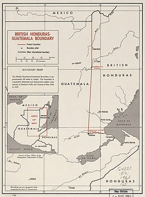 Guatemalan Civil War - 1961 CIA map of British Honduras-Guatemala border
