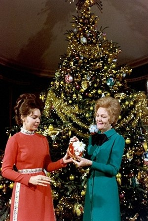 Julie Nixon Eisenhower - Julie and her mother, First Lady Pat Nixon decorate the White House for Christmas, 1971