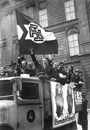 Fatherland Front (Austria) - Truck with supporters of Schuschnigg (pictured on the posters) campaigning for the independence of Austria, March 1938 (shortly before the Anschluss)