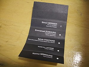 Ballot for the Green party of Quebec during th...