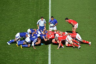 Rugby World Cup - A scrum between Samoa (in blue) and Wales (in red) during the 2011 World Cup