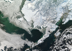 Climate of Alaska - Alaska covered by snow in the winter.