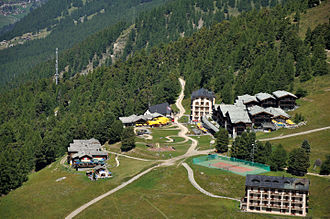 Riffelalp - View of Riffelalp with the tram line in the middle