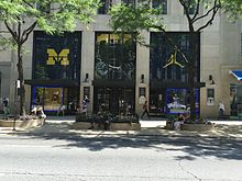 1dbc884a0a1 Michigan Wolverines logo and the jumpman logo at the Nike flagship store on  the Magnificent Mile during the week before the opening game for the 2016  ...