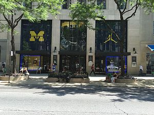 2016 Michigan Wolverines football team - Michigan Wolverines logo and the jumpman logo at the Nike, Inc. flagship store on the Magnificent Mile during the week before the opening game