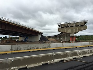 Interstate 95 in Pennsylvania - Ramps under construction for the Pennsylvania Turnpike/Interstate 95 Interchange in 2017