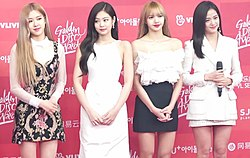 Blackpink in 2019. From left to right: Rosé, Jennie, Lisa, and Jisoo