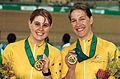 231000 - Cycling track Tania Modra Sarnya Parker gold medals - 2000 Sydney medal photo.jpg