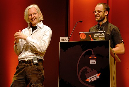 Assange and Daniel Domscheit-Berg at the 26C3 in Berlin, December 2009 26C3 Assange DomscheitBerg.jpg
