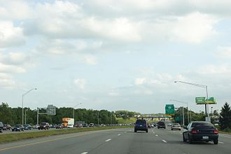 Interstate 390 - I-390 southbound by the Rochester Airport, with heavy traffic on the northbound side