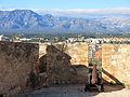 485 Castell de la Suda (Tortosa), merlets i canó, amb el massís del Port al fons.JPG