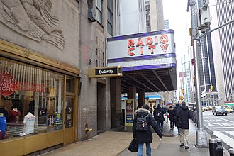 Radio City Music Hall - Marquee seen from north, with subway entrance at left