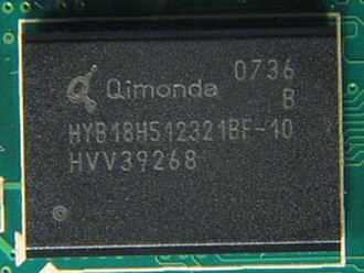 GDDR3 SDRAM - A 64 MB Qimonda GDDR3 SDRAM chip