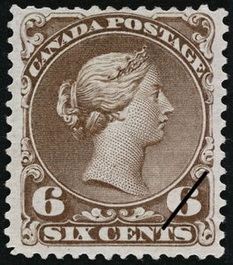 "Postage stamps and postal history of Canada - An 1868 6¢ ""Large Queen"" stamp."