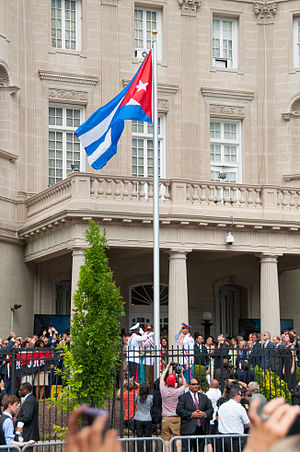 Cuban thaw - The Flag of Cuba is raised during the official reopening of the Embassy of Cuba in Washington, D.C. on 20 July 2015.