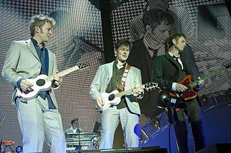 A-ha - A-ha in concert at Palacio Vistalegre, Madrid, Spain, in 2010 (left to right: Magne Furuholmen, Morten Harket, Paul Waaktaar-Savoy)