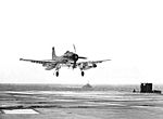 AD Skyraider of VA-54 lands on USS Bon Homme Richard (CVA-31) in 1957.jpg