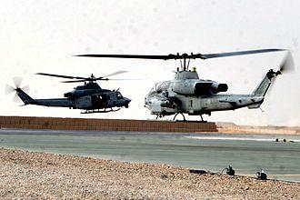 Bell UH-1Y Venom - A UH-1Y from HMLA-367 and an AH-1W SuperCobra in Afghanistan, November 2009