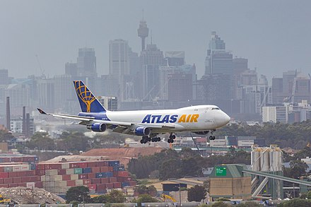 A Boeing 747-400F, operated by Atlas Air on behalf of Qantas Freight, on short finals for Sydney Airport ATLASAIR.jpg
