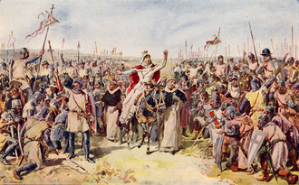 Elizabeth of Aragon - Queen Elizabeth, mounted on a mule, prevents a civil war in 1323, on the field of Alvalade
