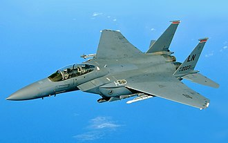 McDonnell Douglas F-15E Strike Eagle - USAF F-15E of 494th Fighter Squadron over the Mediterranean Sea
