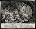 A cave in the mountains with five lynx and their kitten. Etc Wellcome V0021002.jpg