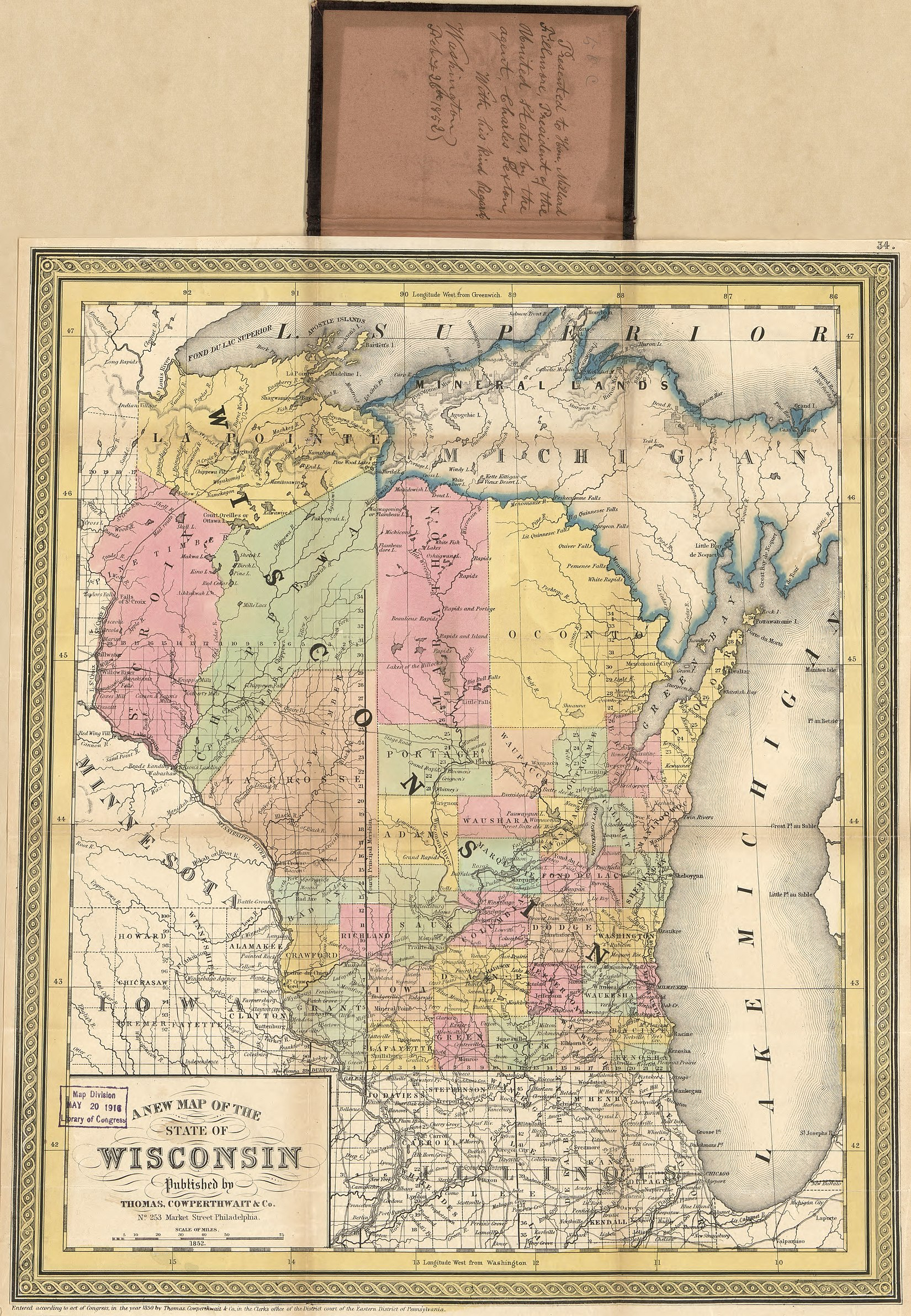 1852 boundaries of Door County, prior to the separation of Kewaunee County in 1852