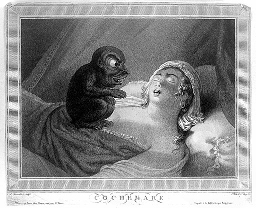 A perturbed young woman fast asleep with a devil sitting on Wellcome L0013990