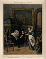 A physician receiving a glass from a female servant whilst v Wellcome V0016061.jpg
