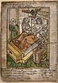 A priest gives a dying man his last rites. Coloured woodcut, Wellcome V0042055.jpg