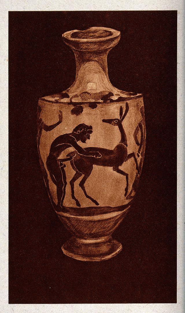 Vase mit zoophilen Motiven