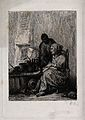 A witch at her table being helped by her attendant; they are Wellcome V0025863.jpg