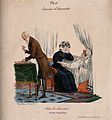 A woman weeps at her paramour's bed; the doctor puts away hi Wellcome V0011772.jpg