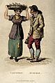 A woman with a basket of fish on her head and a man carrying Wellcome V0039678.jpg